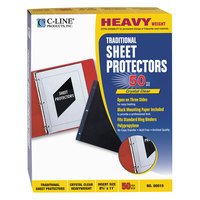 C-Line 00010 11 inch x 8 1/2 inch Heavyweight Top / Side Loading Clear Polypropylene Traditional Sheet Protector - 50/Box