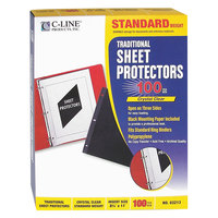 C-Line 03213 11 inch x 8 1/2 inch Standard Weight Top / Side Loading Clear Polypropylene Traditional Sheet Protector - 100/Box