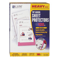 C-Line 62028 11 inch x 8 1/2 inch Heavyweight Top-Loading Clear Non-Glare Polypropylene Sheet Protector   - 100/Box