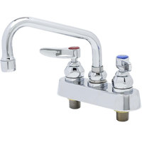 T&S B-1110-QT Deck Mount Workboard Mixing Faucet with 4 inch Centers and Polished Chrome Plated Escutcheon - 6 inch Spread