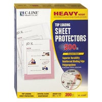 C-Line 62097 11 inch x 8 1/2 inch Heavyweight Top Loading Clear Polypropylene Sheet Protector   - 200/Box