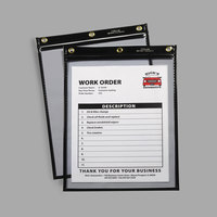 C-Line 50912 9 inch x 12 inch Clear Heavy-Duty Super Heavyweight Plus Stitched Shop Ticket Holder with 75 Sheet Capacity - 15/Box