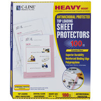 C-Line 62033 11 inch x 8 1/2 inch Heavyweight Top-Loading Antimicrobial Clear Polypropylene Sheet Protector - 100/Box