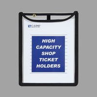 C-Line 39912 9 inch x 12 inch x 1 inch Clear High Capacity Stitched Shop Ticket Holder with 150 Sheet Capacity   - 15/Box
