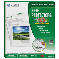 C-Line 62617 EcoPure 11 inch x 8 1/2 inch Standard Weight Top-Loading Clear Polypropylene Sheet Protector - 100/Box