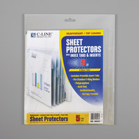 C-Line 05557 11 inch x 8 1/2 inch Heavyweight Top-Loading Clear Polypropylene Sheet Protector with Clear Index Tabs - 5/Set