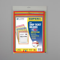 C-Line 43920 9 inch x 12 inch Assorted Neon Color Stitched Shop Ticket Holder with 75 Sheet Capacity - 10/Pack