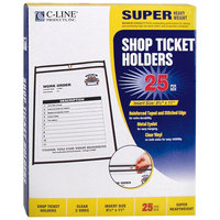 C-Line 46911 8 1/2 inch x 11 inch Double Sided Clear Stitched Shop Ticket Holder with 50 Sheet Capacity - 25/Box