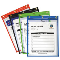 C-Line 50920 9 inch x 12 inch Assorted Color Heavy-Duty Super Heavyweight Plus Stitched Shop Ticket Holder - 20/Box
