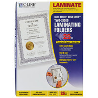 C-Line 65187 Cleer Adheer Quick Cover 11 1/2 inch x 9 1/8 inch Super Heavyweight Clear Laminate Laminating Pocket - 25/Box