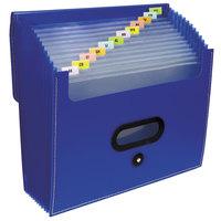 C-Line 48015 13-Pocket Blue Letter Sized Ladder Expanding File with Elastic Closure