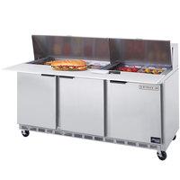 Beverage-Air SPE72-10 72 inch Three Door Refrigerated Salad / Sandwich Prep Table