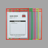 C-Line 43910 9 inch x 12 inch Assorted Neon Color Stitched Shop Ticket Holder with 75 Sheet Capacity   - 25/Box
