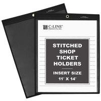 C-Line 45114 11 inch x 14 inch Clear / Black Stitched Shop Ticket Holder - 25/Box