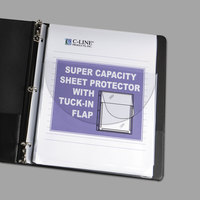 C-Line 61027 11 inch x 8 1/2 inch Super Heavyweight Top-Loading Clear Vinyl Sheet Protector with Tuck-In Flap - 10/Pack