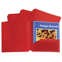 C-Line 32934 Letter Size Red 3-Hole Punch 2-Pocket Heavyweight Poly Portfolio Folder - 25/Box