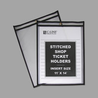 C-Line 46114 11 inch x 14 inch Double Sided Clear Stitched Shop Ticket Holder with 75 Sheet Capacity - 25/Box
