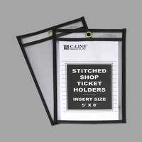 C-Line 46058 5 inch x 8 inch Double Sided Clear Stitched Shop Ticket Holder with 35 Sheet Capacity - 25/Box