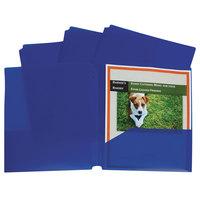 C-Line 32935 Letter Size Blue 3-Hole Punch 2-Pocket Heavyweight Poly Portfolio Folder - 25/Box