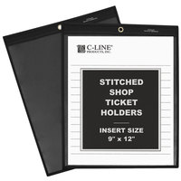 C-Line 45912 9 inch x 12 inch One Side Clear Stitched Shop Ticket Holder with 75 Sheet Capacity - 25/Box