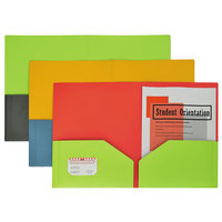 C-Line 34720 Letter Size Assorted Color Two-Tone 2-Pocket Super Heavyweight Poly Portfolio Folder - 6/Pack