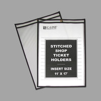 C-Line 46117 11 inch x 17 inch Double Sided Clear Stitched Shop Ticket Holder with 75 Sheet Capacity - 25/Box
