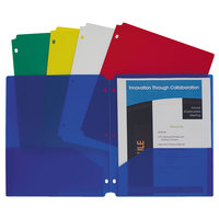 C-Line 32930 Letter Size Assorted Color 3-Hole Punch 2-Pocket Heavyweight Poly Portfolio Folder - 10/Pack
