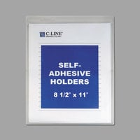 C-Line 70911 8 1/2 inch x 11 inch Double Sided Clear Super Heavy Self-Adhesive Shop Ticket Holder with 15 Sheet Capacity - 50/Box