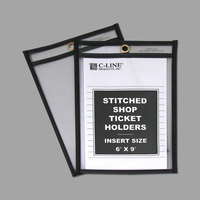 C-Line 46069 6 inch x 9 inch Double Sided Clear Stitched Shop Ticket Holder with 50 Sheet Capacity - 25/Box