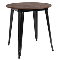 Flash Furniture CH-51090-29M1-BK-GG 26 inch Round Dining Table with Black Metal Frame and Walnut Top