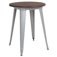 Flash Furniture CH-51080-29M1-SIL-GG 24 inch Round Dining Table with Silver Metal Frame and Walnut Top