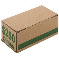 PM Company 61010 8 1/16 inch x 3 15/16 inch x 3 3/16 inch Green Corrugated Cardboard Coin Storage Box - $250, Dimes - 50/Case