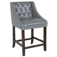 Flash Furniture CH-182020-T-24-LTGY-GG Carmel Series Counter Height Stool in Tufted Gray Leather with Walnut Frame and Nail Trim Accent