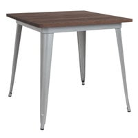 Flash Furniture CH-51040-29M1-SIL-GG 31 1/2 inch Square Walnut Dining Table with Silver Metal Frame and Rustic Wood Top