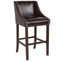 Flash Furniture CH-182020-30-BN-GG Carmel Series Brown Leather Bar Stool with Walnut Frame and Nail Trim Accent