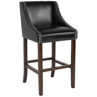 Flash Furniture CH-182020-30-BK-GG Carmel Series Black Leather Bar Stool with Walnut Frame and Nail Trim Accent