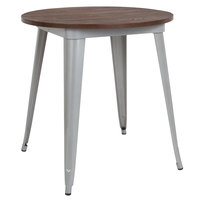 Flash Furniture CH-51090-29M1-SIL-GG 26 inch Round Dining Table with Silver Metal Frame and Walnut Top