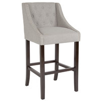 Flash Furniture CH-182020-T-30-LTGY-F-GG Carmel Series Light Gray Tufted Fabric Bar Stool with Walnut Frame and Nail Trim Accent