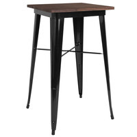 Flash Furniture CH-31330-40M1-BK-GG 23 1/2 inch Square Walnut Bar Height Table with Black Metal Frame