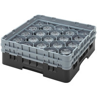 Cambro 16S534110 Camrack 6 1/8 inch High Black 16 Compartment Glass Rack
