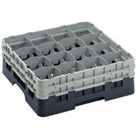 Cambro 16S534110 Camrack 6 1/8 inch High Customizable Black 16 Compartment Glass Rack
