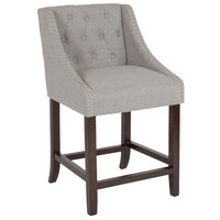 Flash Furniture CH-182020-T-24-LTGY-F-GG Carmel Series Counter Height Stool in Light Gray Tufted Fabric with Walnut Frame and Nail Trim Accent