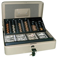 PM Company 04967 Pebble Beige 3-in-1 Cash-Change-Storage Steel Security Box with Key Lock