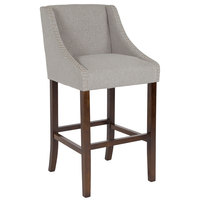 Flash Furniture CH-182020-30-LTGY-F-GG Carmel Series Light Gray Fabric Bar Stool with Walnut Frame and Nail Trim Accent