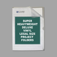 C-Line 62139 Deluxe Legal Size Clear Vinyl Project Folder - 50/Box