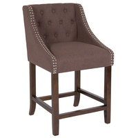Flash Furniture CH-182020-T-24-BN-F-GG Carmel Series Counter Height Stool in Brown Tufted Fabric with Walnut Frame and Nail Trim Accent