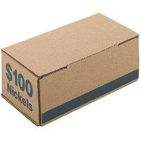 PM Company 61005 9 3/8 inch x 4 5/8 inch x 3 11/16 inch Blue Corrugated Cardboard Coin Storage Box - $100, Nickels - 50/Case