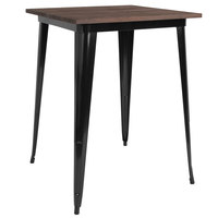 Flash Furniture CH-51040-40M1-BK-GG 31 1/2 inch Square Walnut Bar Height Table with Black Metal Frame