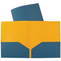 C-Line 34725 Letter Size Blue / Orange Two-Tone 2-Pocket Super Heavyweight Poly Portfolio Folder - 6/Pack
