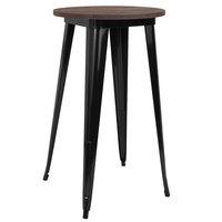 Flash Furniture CH-51080-40M1-BK-GG 24 inch Round Walnut Bar Height Table with Black Metal Frame